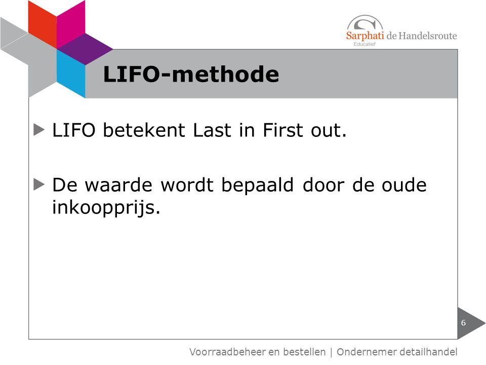 FIFO betekent First in First out.De waarde wordt bepaald door de laatste inkoopprijs.