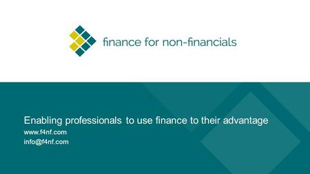 Enabling professionals to use finance to their advantage