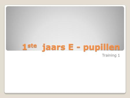 1ste jaars E - pupillen Training 1.