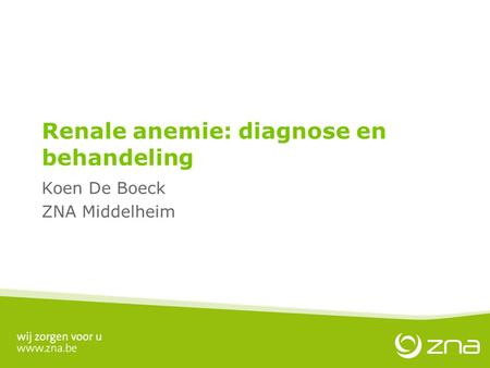 Renale anemie: diagnose en behandeling