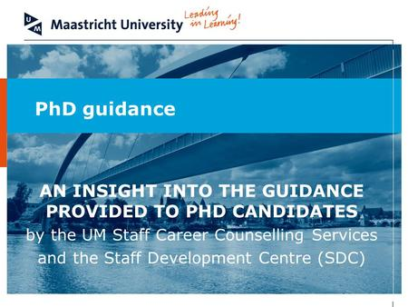 PhD guidance AN INSIGHT INTO THE GUIDANCE PROVIDED TO PHD CANDIDATES by the UM Staff Career Counselling Services and the Staff Development Centre (SDC)