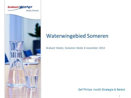 Waterwingebied Someren Brabant Water, Someren Heide 4 november 2014 1 Sef Philips, hoofd Strategie & Beleid.