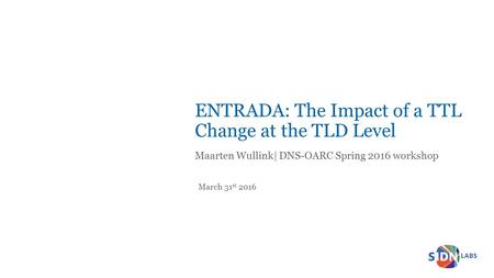 Titeldia ENTRADA: The Impact of a TTL Change at the TLD Level Maarten Wullink| DNS-OARC Spring 2016 workshop March 31 st 2016.