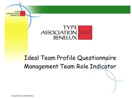 Copyright Type Association Benelux 1 Ideal Team Profile Questionnaire Management Team Role Indicator.