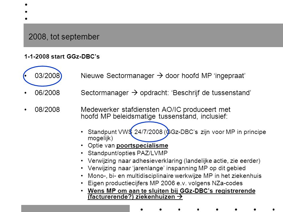  Wens MP om aan te sluiten bij GGz-DBC's registrerende ZH Voorwaarden hiervoor werden nader uitgewerkt: Commitment van het management ICT-koppeling ParaNice-EZIS Opname GGz-DBC's in EZIS (inclusief verrichtingentabellen MP) Registratie GGz-DBC's door MP in EZIS Voor registratie, validatie en facturatie in EZIS: contactpersoon AO ter begeleiding implementatie benoemen …..