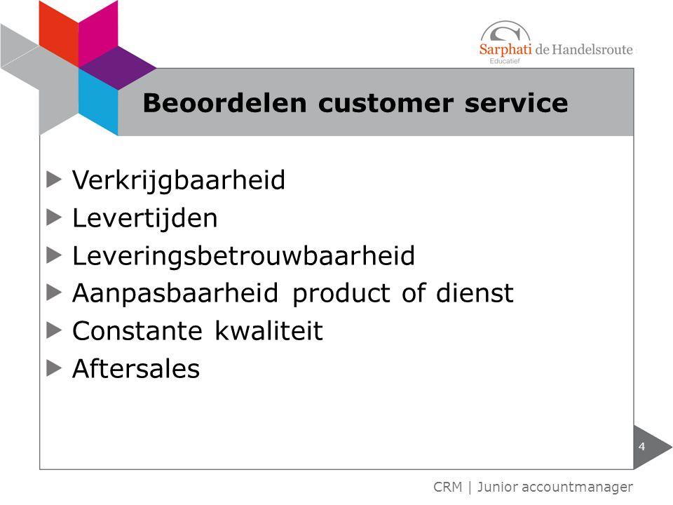 Service voor de koop Service tijdens de koop Service na de koop 5 CRM | Junior accountmanager Customer service als bedrijfsproces
