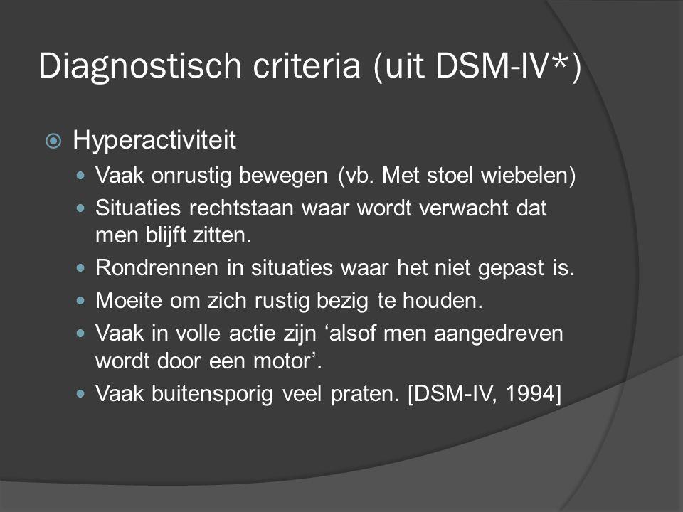 Diagnostisch criteria (uit DSM-IV*)  Impulsiviteit Vaak het antwoord op vragen eruit gooien voor die vragen afgemaakt zijn.