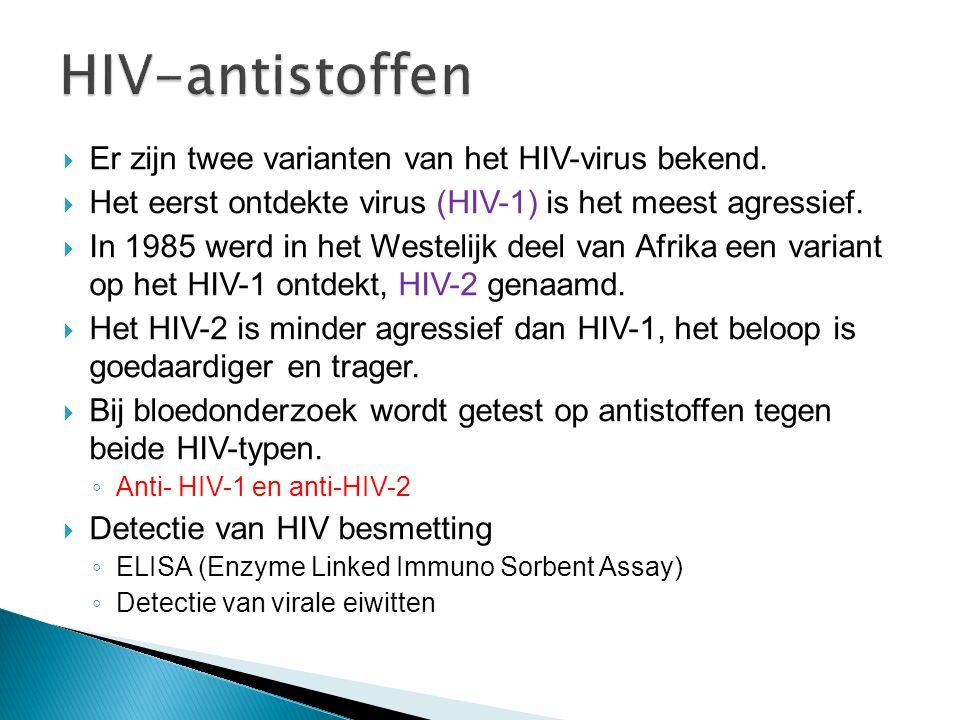  Bij infectie van cellen met het HIV virus  B-cellen  B-cellen vormen antistoffen tegen het HIV- virus antigenen  Antistoffen zijn detecteerbaar in het bloed  Klinische bepaling van HIV antistoffen