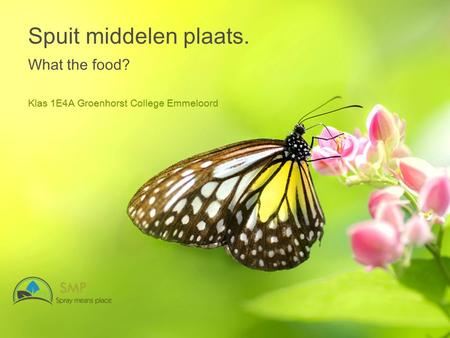 Spuit middelen plaats. What the food? Klas 1E4A Groenhorst College Emmeloord.