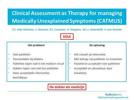 Clinical Assessment as Therapy for managing Medically Unexplained Symptoms (CATMUS) T.C. olde Hartman, J. Houwen, P.L. Lucassen, H. Stappers, W.J.J. Assendelft,