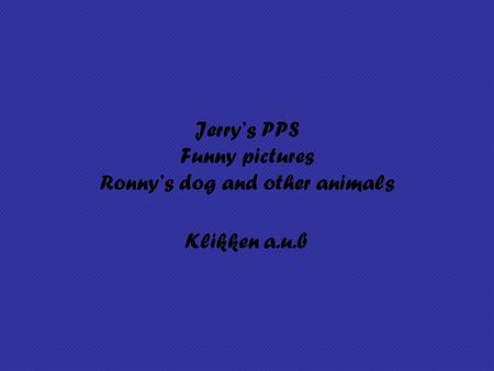 Jerry's PPS Funny pictures Ronny's dog and other animals Klikken a.u.b.