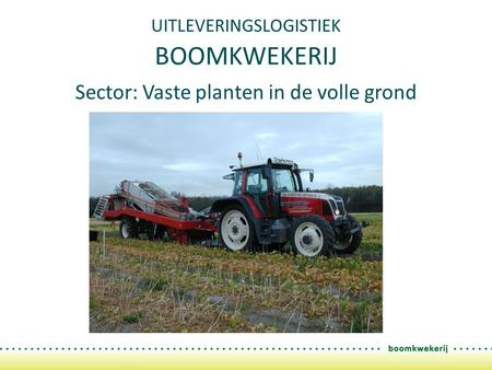 UITLEVERINGSLOGISTIEK BOOMKWEKERIJ Sector: Vaste planten in de volle grond.