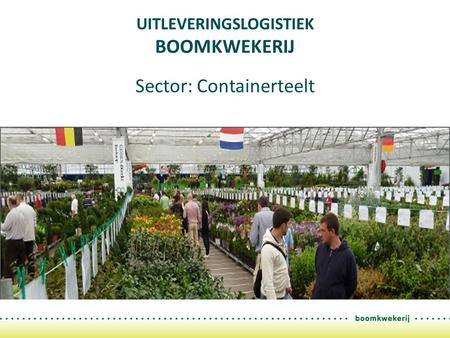 UITLEVERINGSLOGISTIEK BOOMKWEKERIJ Sector: Containerteelt.