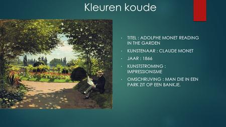 TITEL : ADOLPHE MONET READING IN THE GARDEN KUNSTENAAR : CLAUDE MONET JAAR : 1866 KUNSTSTROMING : IMPRESSIONISME OMSCHRIJVING : MAN DIE IN EEN PARK ZIT.