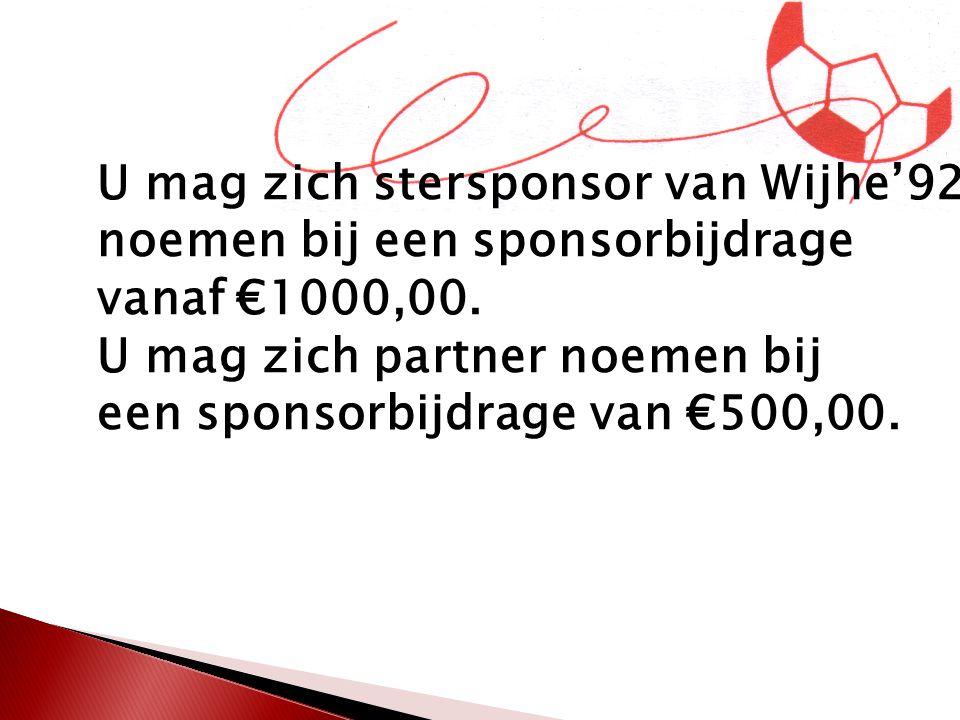 Stersponsoren en Partners krijgen een speciale pagina op de website en vermelding op narrow casting.
