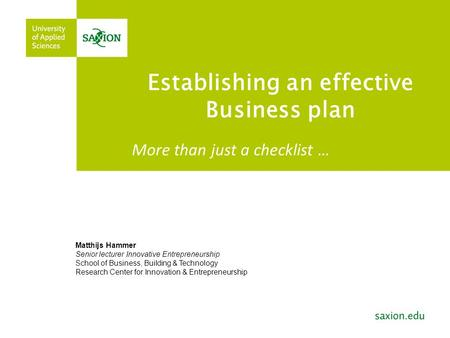 Establishing an effective Business plan; course for the Autumn Business School