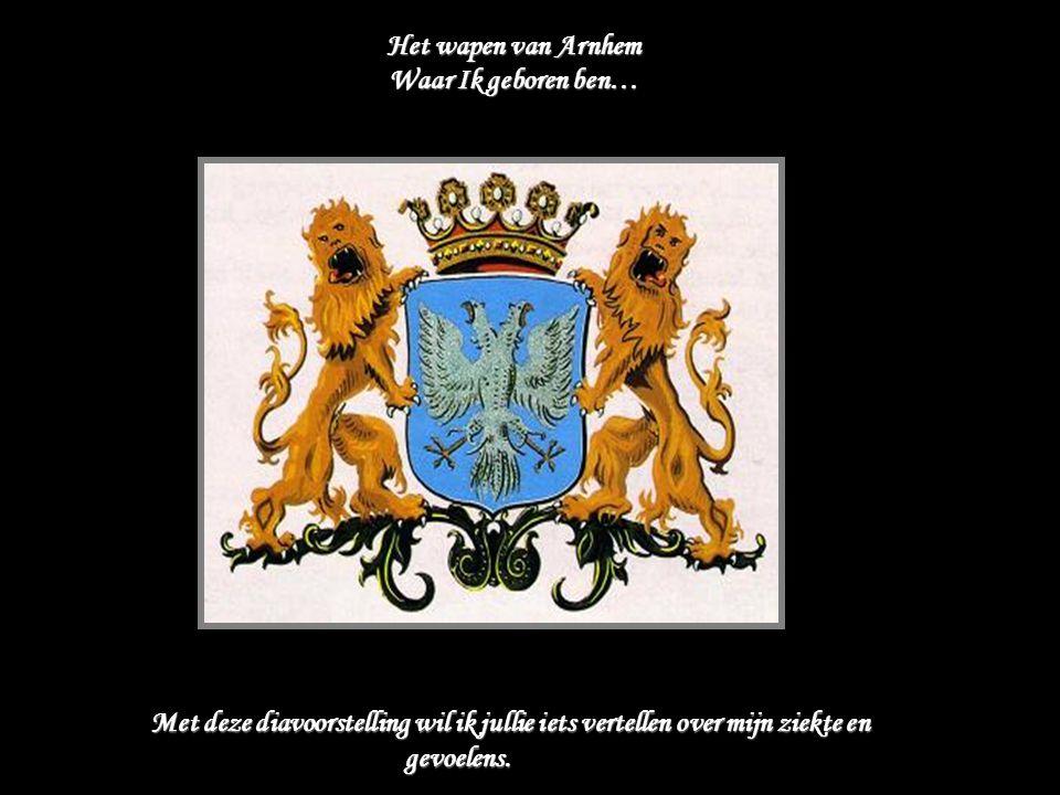 Het wapen van Arnhem Waar Ik geboren ben… M et deze diavoorstelling wil ik jullie iets vertellen over mijn ziekte en gevoelens.