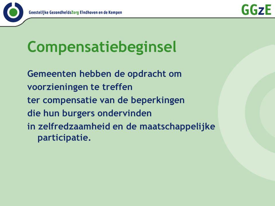 Doelstelling compensatie Door deze voorzieningen kunnen (kwetsbare) burgers: 1.een huishouden voeren; 2.zich verplaatsen in en om de woning; 3.zich lokaal verplaatsen per vervoermiddel; 4.medemensen ontmoeten en op basis daarvan sociale verbanden aangaan