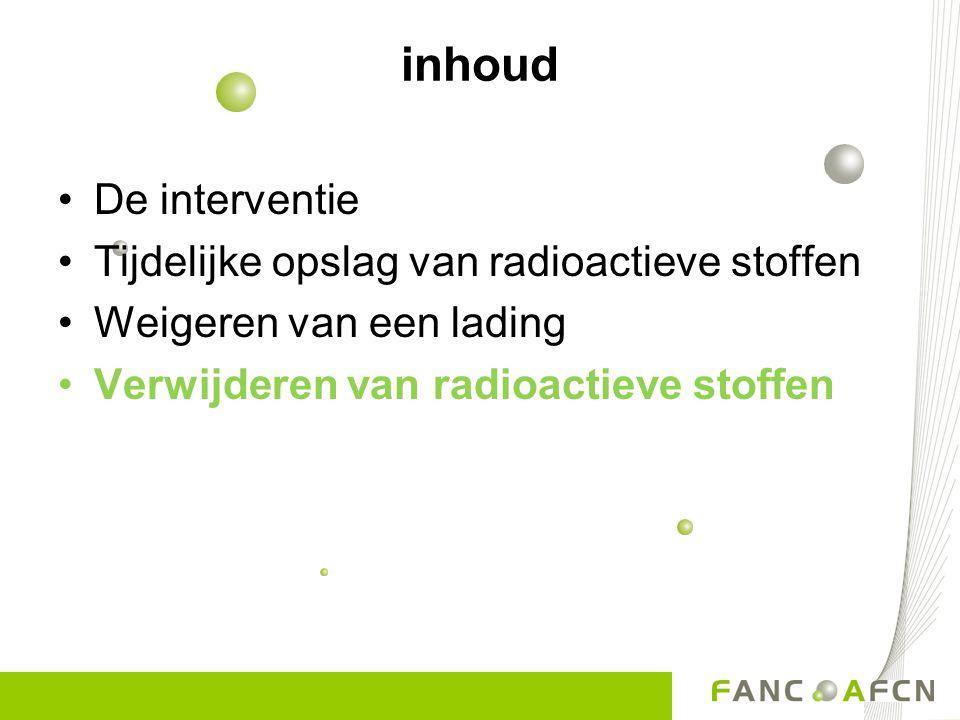 18 Dringende ophaling Opslag voldoet niet aan de voorwaarden Opslag voldoet aan de voorwaarden 18 Verwijdering van radioactieve afvalstoffen in de niet-nucleaire sector