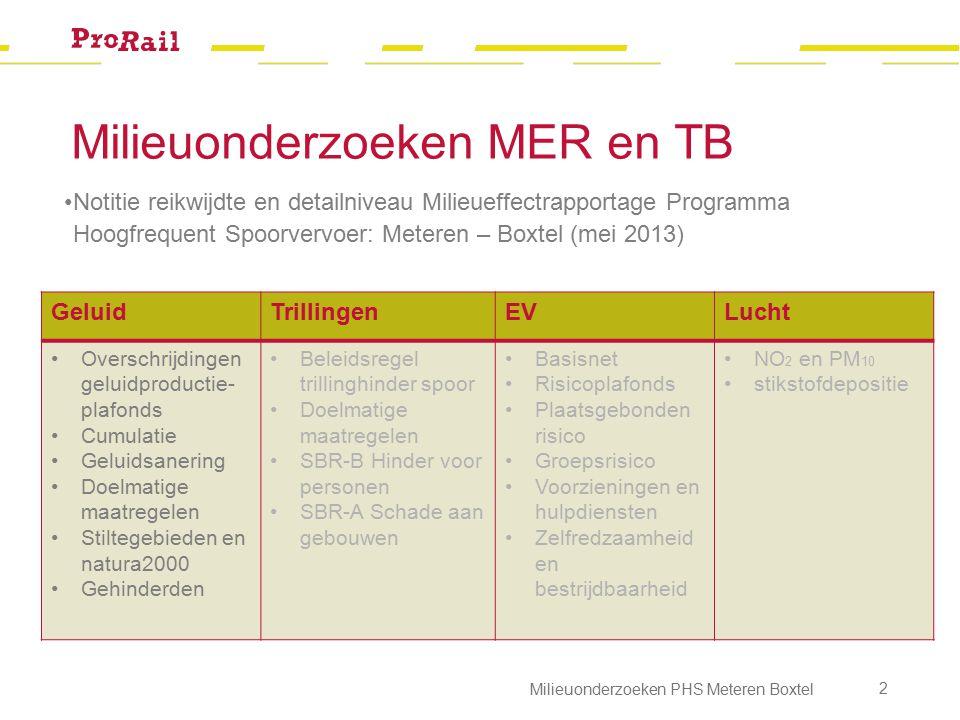 Geluid Werkwijze onderzoek (rail- en wegverkeer) 1.Vaststellen van de uitgangspunten (intensiteiten, snelheidsprofielen, spoor- en wegontwerp) 2.Toetsing project aan de geluidproductieplafonds (GPP's) Gebaseerd op 2006, 2007, 2008 + 1,5 dB Project Tracebesluit Sporen in den Bosch + 0 dB http://www.geluidspoor.nl/geluidregister.html Milieuonderzoeken PHS Meteren Boxtel 3