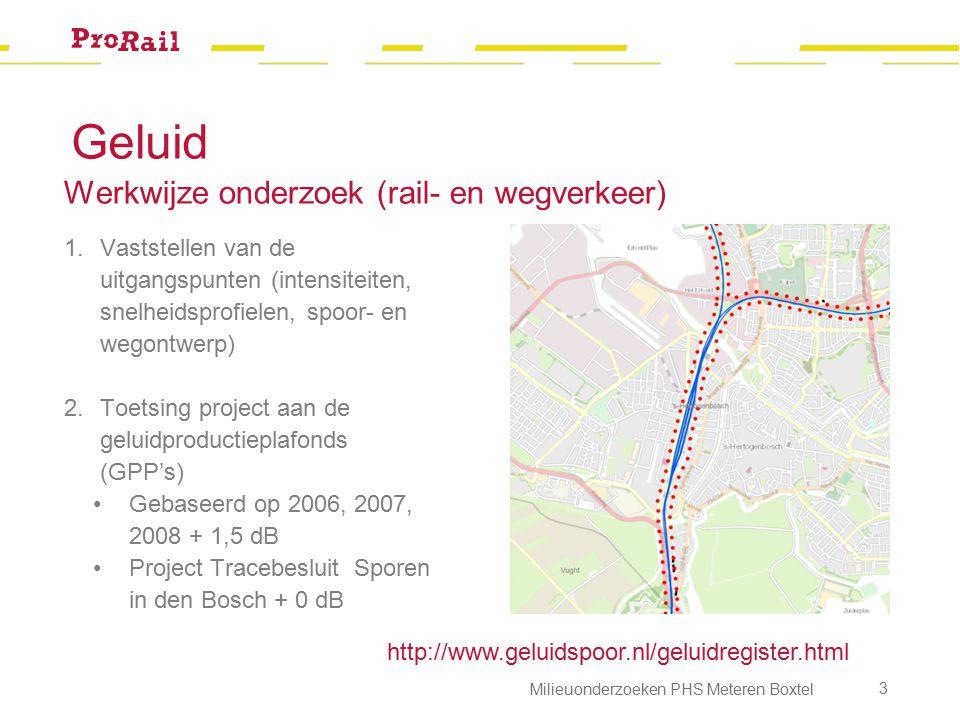 Geluid Werkwijze onderzoek (rail- en wegverkeer) 1.Vaststellen van de uitgangspunten (intensiteiten, snelheidsprofielen, spoor- en wegontwerp) 2.Toetsing project aan de geluidproductieplafonds (GPP's) Gebaseerd op 2006, 2007, 2008 + 1,5 dB Project Tracebesluit Sporen in den Bosch + 0 dB http://www.geluidspoor.nl/geluidregister.html Milieuonderzoeken PHS Meteren Boxtel 4