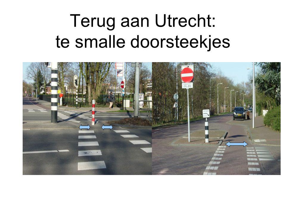 En een smalle doorsteek Twee fietsers in dezelfde richting (ouder met kind) kunnen niet samen door de doorsteekjes heen En er is nagenoeg altijd verkeer uit de tegenrichting op deze drukke route