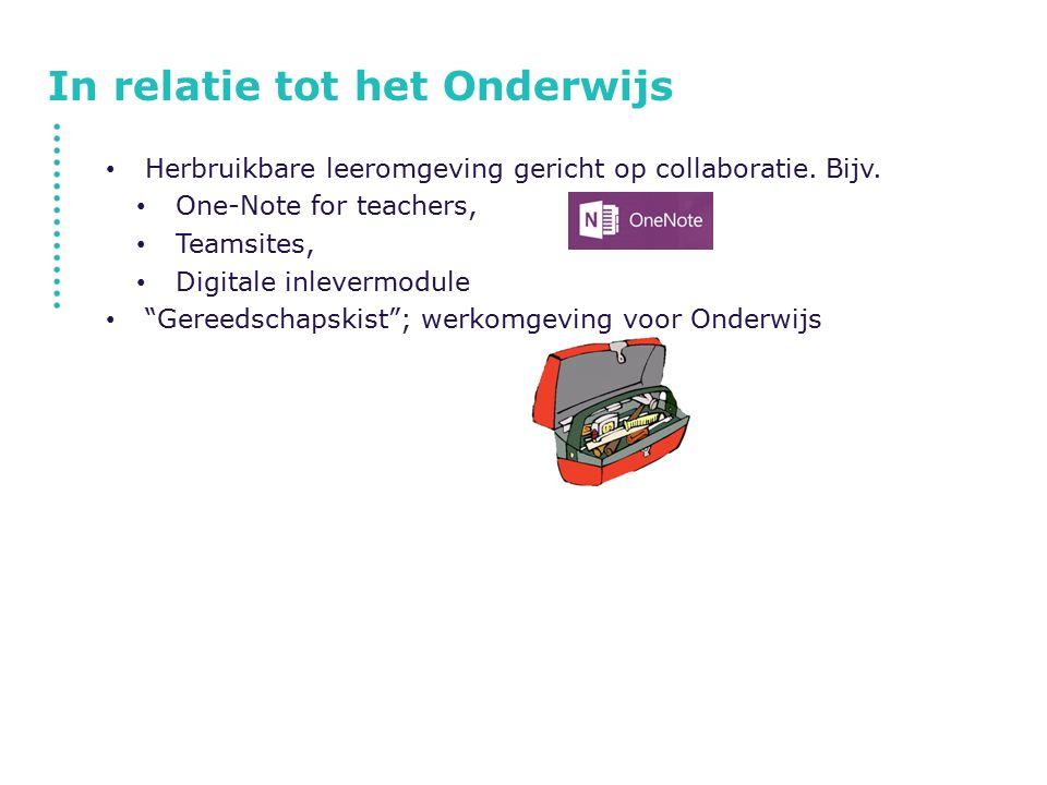 In relatie tot het Onderwijs Herbruikbare leeromgeving gericht op collaboratie.