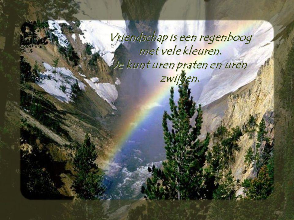 Vriendschap is een regenboog met vele kleuren. Je kunt uren praten en uren zwijgen.