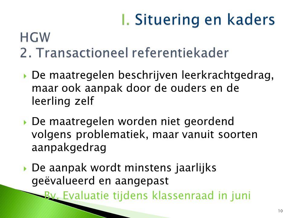  Leerkracht(en) spilfiguur bij GV  Gericht op haalbare maatregelen in de klas Bv.