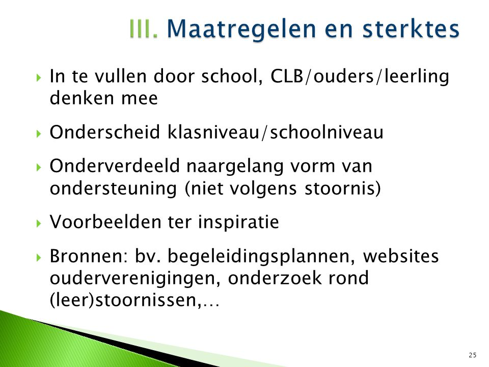  Maatregelen: o.a.o Aangepast curriculum (bv.
