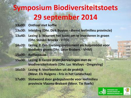 Symposium Biodiversiteitstoets 29 september 2014