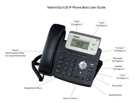"Yealink Sip t-20 IP Phone Basic User Guide ""Menu"" Wordt beheerd door Uw systeembeheerder ""Hold"" Zie pagina 2 ""Conf"" Zie Pagina 2 ""Contact"" Zie Pagina 3."