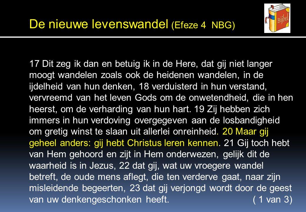 De nieuwe levenswandel (Efeze 4 NBG) 24 en de nieuwe mens aandoet, die naar (de wil van) God geschapen is in waarachtige gerechtigheid en heiligheid.