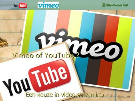 Vimeo of YouTube ? Een keuze in video streaming. 31 oktober 20122 Introductie  Veel Videodiensten: o.a.  BlipTV2  Flickr  Photobucket  Dumpert 