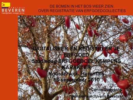 DE BOMEN IN HET BOS WEER ZIEN. OVER REGISTRATIE VAN ERFGOEDCOLLECTIES Carine Goossens gemeentearchivaris Beveren DIGITALISEER EN REGISTREER JE ERFGOED.