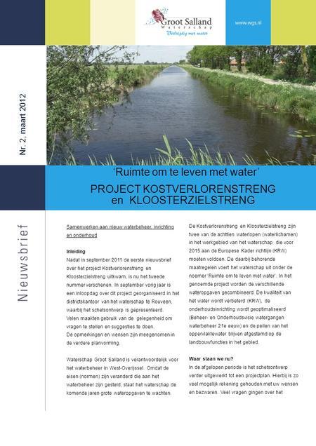 Nr 3 augustus 2013 ruimte om te leven met water project kostverlorenstreng en - Ruimte tegel te leven ...