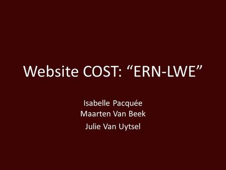 "Website COST: ""ERN-LWE"""