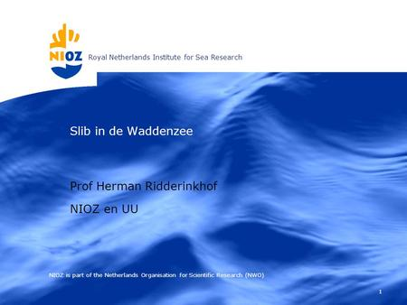 Royal Netherlands Institute for Sea Research 1 Slib in de Waddenzee NIOZ is part of the Netherlands Organisation for Scientific Research (NWO) Prof Herman.