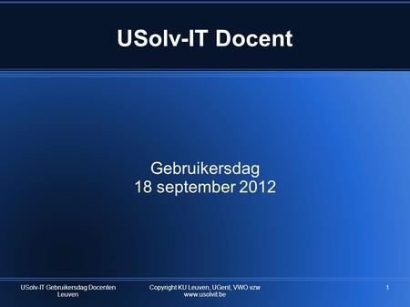 USolv-IT Docent Gebruikersdag 18 september