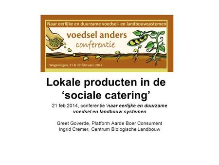 Lokale producten in de 'sociale catering'