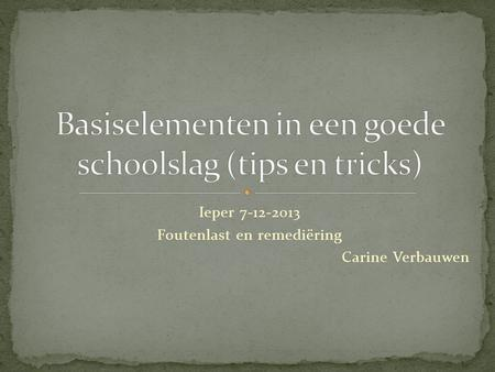 Basiselementen in een goede schoolslag (tips en tricks)