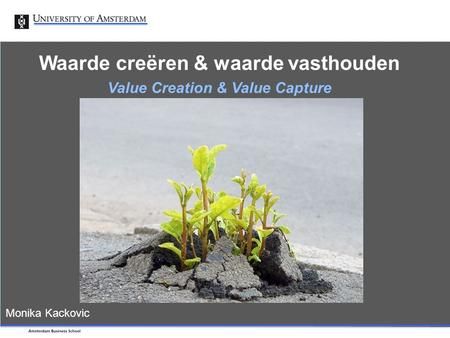 Primary art market - Signals Waarde creëren & waarde vasthouden Value Creation & Value Capture Monika Kackovic.