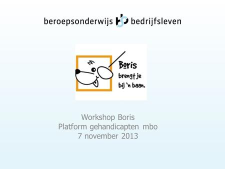 Workshop Boris Platform gehandicapten mbo 7 november 2013.