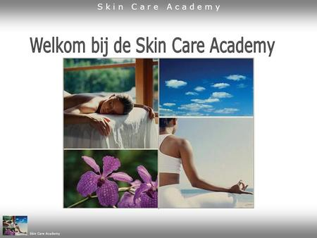 Skin Care Academy. Programma 1. korte presentatie Skin Care Academy 2. kennismaking producten kennismaking Skin Care Club kennismaking startpakket 3.
