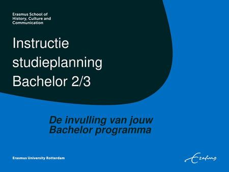Instructie studieplanning Bachelor 2/3