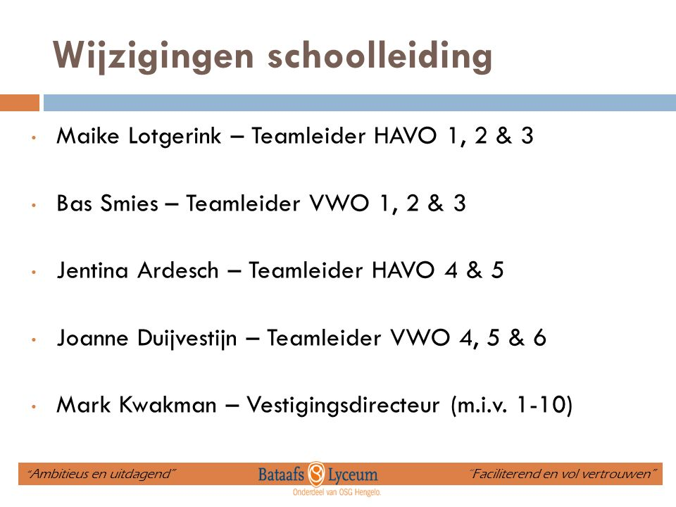 Leerlingbegeleiding HAVO 4 Richard Walgemoetmentor en decaan Frank Warrinkmentor Bart van Beekmentor Jonathan Dagmentor Laura Brenneisenmentor Jentina Ardeschteamleider Chris de Ruyterzorgcoördinator Tineke de Boerondersteuner José Laarhuisdyslexiecoach HAVO docententeam