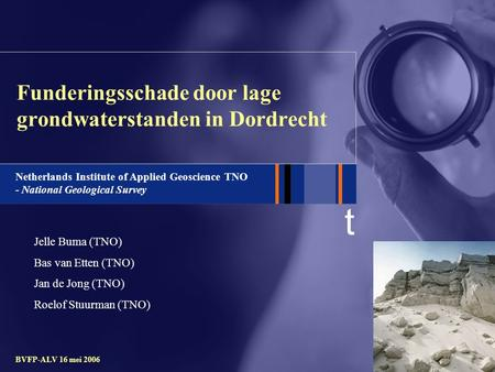 T Netherlands Institute of Applied Geoscience TNO - National Geological Survey BVFP-ALV 16 mei 2006 Funderingsschade door lage grondwaterstanden in Dordrecht.