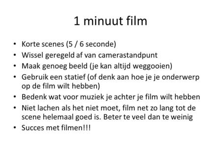 1 minuut film Korte scenes (5 / 6 seconde)