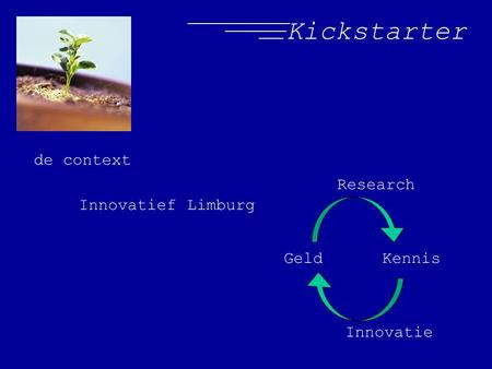 Kickstarter de context Innovatief Limburg Geld Kennis Research Innovatie.