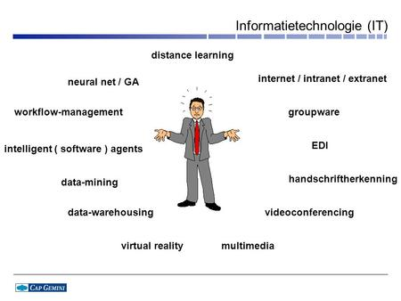 Informatietechnologie (IT) internet / intranet / extranet groupware handschriftherkenning videoconferencing multimediavirtual reality data-mining data-warehousing.